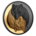 The Grey Wolf. Black and Gold. Canada 20$ 2021 Gold-Plated 99,99% silver coin, 1 oz