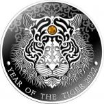 Год Тигра 2022 г. - Гана 2 седи, 99,9% серебряная монета с кристаллом Swarovski®, 1/2 унции.