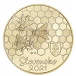 Fauna and flora in Slovakia. Western honey bee. Slovakia 5€ 2021 commemorative coin