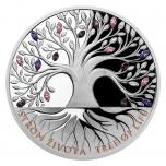 Elämän puu. Kesä - Niue saarivaltio 2020 v. 2 $ 1 unssi 99,99% hopearaha, Preciosan koneella leikatut kristallikivet