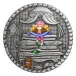 Принцесса на горошине -  Острова Ниуэ 1$ 2021 99,9% серебряная монета  с цветной печатью, 1 унция