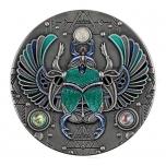Skarabeus - õnne ja edu talisman. Niue Saarte 5 $ 2021.a. 2-untsine antiikviimkistlusega värvitrükis 99.9% hõbemünt kristallidega.