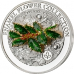 Enamel Flower Collection - Holly. Samoa 5$  2021 99,9% Silver Coin with 3D Enamel Holly 1 oz.
