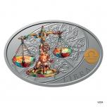 Silver coin Sign of Zodiac - Libra. Niue 1 $ 2021 99,9% silver coin 1 oz