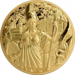 The Twelve Olympians in the Zodiac - Athena VS Aries. Samoa 0.20 $ 2021  Gold plated Copper/Nickel coin