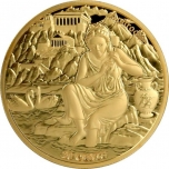 The Twelve Olympians in the Zodiac - Aphrodite & Taurus. Samoa 0.20 $ 2021  Gold plated Copper/Nickel coin