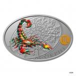 Sodiaagimärgid. Skorpion - Niue 1$ 2021.a värvitrükis 1 untsine 99,9% hõbemünt
