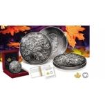 Kanada Rahapaja 2018.a antiikviimistlusega kuplikujuline 5-untsine 99,99% hõbemünt - Vahtraleht