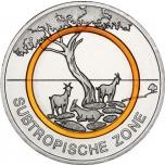 Saksa  5€ 2018 v. Subtrooppinen ilmastoalue, polymeerirengas  (setti A, G, J, D, F rahapaja)