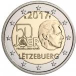 2 € юбилейная монета 2017 г. Люксембург  - 50 лет добровольной армии Люксембурга