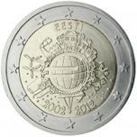 Eesti 2012 a 2€ juubelimünt - kümme aastat europangatähti ja -münte