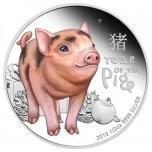 """""""Поросёнок"""" - Тувалу 1/2 $ 99,99% серебряная монета с цветной печатью 2019 г.  15,553 гp."""