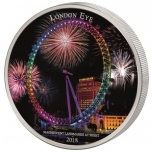 Landmarks at Night. London Eye. Ivory Coast 2,000 Francs CFA 2018. 99,9% silver coin, 2 oz