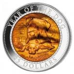 Год  Собаки 2018 - 99,9% серебряная монета с со вставкой из натурального перламутра,  5 унции, Соломоновы острова 25 $