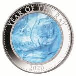 Roti aasta 2020 - Cooki saarte 25$, 5-untsine 99,9% hõbemünt ehtsa  pärlikarbi sisuga