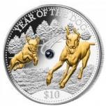 Год Собаки 2018  - Фиджи  10$, 99,9% серебряная монета с настоящей жемчужиной и позолотой, 31.1 г.
