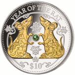 Серебряная монета Год Крысы 2020 Фиджи 10$, 99,9% серебряная монета с настоящей жемчужиной и позолотой, 31.1 г.