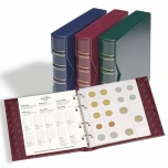 Album Numis Classic with slipcase and 5 coin sheets. Burgnudy