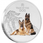 Год Собаки 2018 г - 99,9% серебряная монета  Острова Ниуэ с цветной печатью, 1 унция