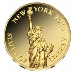 Статуя Свободы - Бурунди 100 франков 2015 г.  99,9% золотая монета 0,5 гр