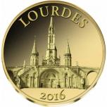 Лурд - Мали 100 франков 2016 г.  99,9% золотая монета 0,5 гр