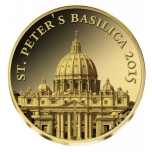 Rooma Pietarinkirkko - St. Peters Basilica - Kongo 100  Fr. 2015.v. 99,9%  kultaraha 0,5 g