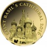 Moskovan Kreml - Pyhän Vasilin katedraali - Kongo 100  Fr. 2016.v. 99,9%  kultaraha 0,5 g