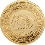 Год Кабана 2019 - Монголия 1000 тугриков 99,99%  золотая монета 0,5 гр.
