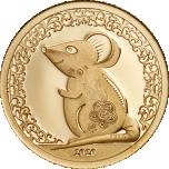 Год Крысы 2020 - Монголия 1000 тугриков 99,99%  золотая монета 0,5 гр.