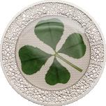 Удачи! - 1 унция 92,5% серебряная монета Палау, 2019 годa с настоящим листом клевера