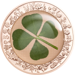 Ounce of Luck 2021 Palau 5$ 2020 rose gilded 92,5% silver coin with REAL four-leaf clover, 1 oz