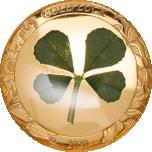 Удачи! -  Палау 1$ 2020 годa, 99,9% золотая монета 1 грамма,  с настоящим листом клевера
