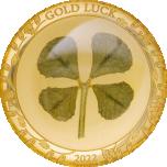 Удачи! - Палау 1$ 2022 годa, 99,99% золотая монета 1 грамм, с настоящим листком клевера