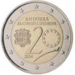 2 € юбилейная монета 2014 г.  Андорра 20 лет в Совете Европы