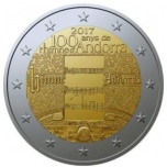 2 € юбилейная монета 2017 г.  Андорра  - Андорра  гимн 100 лет