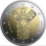 2 € юбилейная монета 2018 г. Латвия 100 лет независимости Балтииских стран