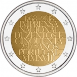 2 € юбилейная монета 2018 г. Португалия - 250-ти летие Национальной типографии