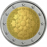 2 € юбилейная монета 2018  г.Франция - 100 лет с  окончания Первой мировой войны