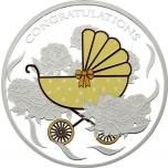 """""""Добро пожаловать в жизнь!"""" -  Токелау 5$ 2018 г. 99,99% серебряная монета  c цветной печатью, 31,1 гp."""