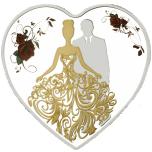 """""""Свадьба"""" - 2018 г. Серебряная монета 1$, в виде сердца с цветной печатью"""