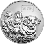 Dog Family - The Year of the Dog Tokelau 5$ 2018  Reverse Proof 99,99% Silver coin