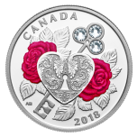 """Празднование любви"" – серебряная монета Канады   2018 г. с хрусталлами Swarovski 7.96 гp."