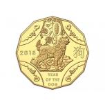 Koera aasta 2018 - Austraaia 50 senti,  15.55g kullatud vask-nikkel münt