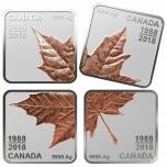 «Кленовый лист- монете 30 лет» - Канада 2018 г. Набор из 4-х монет (серебро с позолотой)