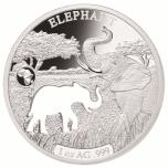 «Животные Африки - Слон»,  Джибути 250$ 2018 г. 99,9% серебряная монета с безупречным разрезом, 31.1 г.