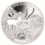 Shapes of Africa. Cut-Out Silver Coin Collection Springbok. Djibouti 250 Fr 2019. 99,9% silver coin 1 oz
