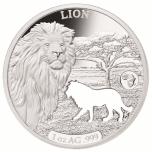 «Животные Африки - Лев»,  Джибути 250$ 2018 г. 99,9% серебряная монета с безупречным разрезом, 31.1 г.