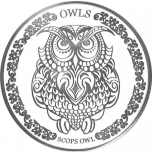 """Сова"" - символ мудрости. 2018 г. Серебряная монета 1$ Токелау"