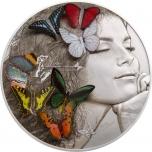 Eksootilised liblikad - Palau 20 $ 2018.a. 5 untsine antiikviimistluse ja 3D liblikatega 99.9% hõbemünt