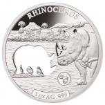 «Животные Африки - Носорог»,  Джибути 250$ 2018 г. 99,9% серебряная монета с безупречным разрезом, 31.1 г.